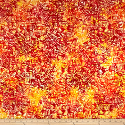 Banyan Batiks Visual Sounds Telephone Orange/Yellow Fabric