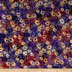 Banyan Batiks Sophie Tossed Florals Purple Fabric
