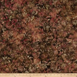 Banyan Batiks Shattered Garden Tossed Mums Brown/Pink Fabric