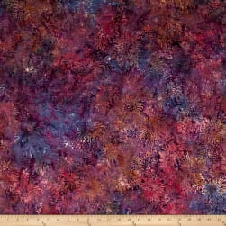 Banyan Batiks Shattered Garden Packed Mums Purple/Orange Fabric
