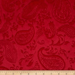 Shannon Minky Cuddle Embossed Paisley Vine Red Fabric