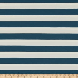 Art Gallery Striped Bold Mediterraneo Stretch Jersey Knit Blue & White Fabric