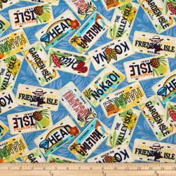 Trans-Pacific Textiles Hawaiian License Plate Blue Fabric