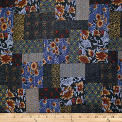 Trans-Pacific Textiles Asian Floral Block Patch Navy Fabric