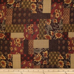 Trans-Pacific Textiles Asian Floral Block Patch Burgundy Fabric