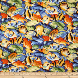 Trans-Pacific Textiles Hawaiian Tropical Fish Navy Fabric