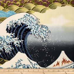Trans-Pacific Textiles Asian Hokusai Wave Turquoise Fabric