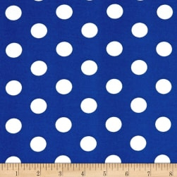 Double Brushed Poly Jersey Knit Medium Polka Dot White/Royal Fabric