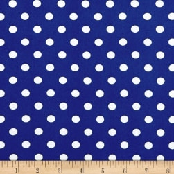 Double Brushed Poly Jersey Knit Small Polka Dot Ivory/Royal Fabric