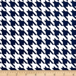 Double Brushed Poly Jersey Knit Houndstooth Navy/White Fabric