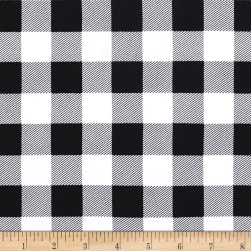 Double Brushed Poly Jersey Knit Medium Plaid Black/White Fabric