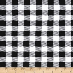 Double Brushed Poly Jersey Knit Small Plaid Black/White Fabric