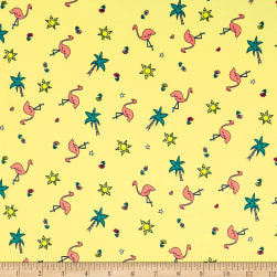 Double Brushed Poly Jersey Knit Flamingoes Coral/Yellow Fabric