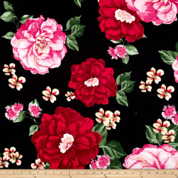 Double Brushed Poly Jersey Knit Large Floral Fuschia/Black