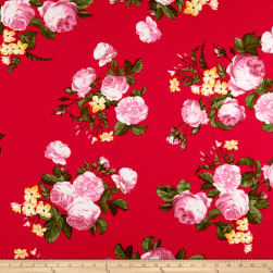Double Brushed Poly Jersey Knit English Roses Pink/Red