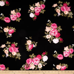 Double Brushed Poly Jersey Knit Floral Hot Pink/Black