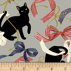 Quilt Gate Neko IV Metallic Cats And Bows