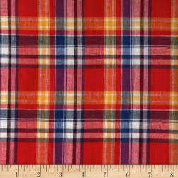 Madras Yarn-Dyed Plaids Red/White/Blue/Yellow Fabric