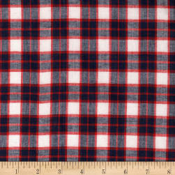 Madras Yarn-Dyed Plaids Red/Navy/White Fabric