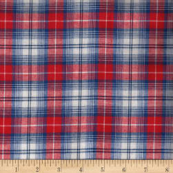 Madras Yarn-Dyed Plaids Red/White/Blue Fabric