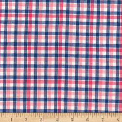 Madras Yarn-Dyed Plaids Pink/White/Blue Fabric