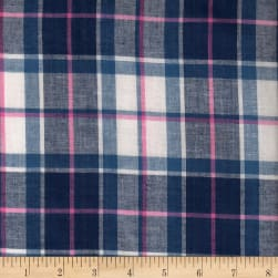 Madras Yarn-Dyed Plaids Navy/Pink/White Fabric