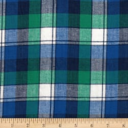 Madras Yarn-Dyed Plaids Teal/Navy/White Fabric