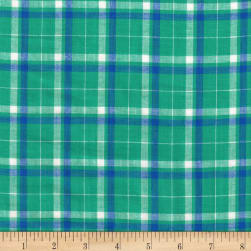 Madras Yarn-Dyed Plaids Turquoise/White Fabric