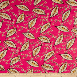 Rayon Challis Leaves Hot Pink/Brown Fabric