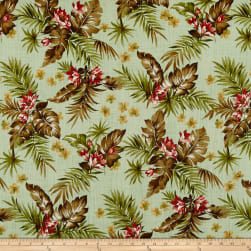 Kokka Resort Tropical Floral Canvas Light Green Fabric