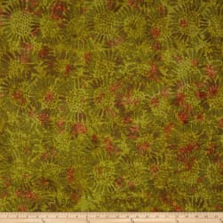 Tuscan Garden Sunflower Batik Olive/Orange Fabric