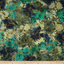 Tuscan Garden Sunflower Batik Green/Brown Fabric
