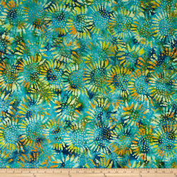 Tuscan Garden Sunflower Batik Lime/Blue Fabric