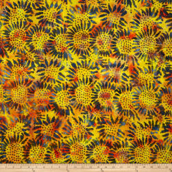Tuscan Garden Sunflower Batik Rust/Dark Green Fabric