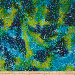 Color Crystals Dots Batik Green/Turquoise/Navy Fabric