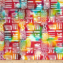 Color Crystals Abstract Batik White/Multi Fabric