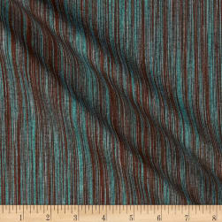 Ombre Ridge Vertical Ikat Turquoise/Brown Fabric