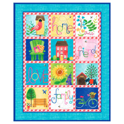 Home Sweet Home Panel 36'' Blue Fabric