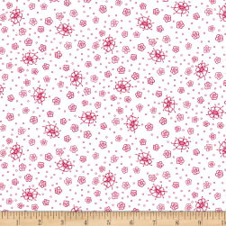 Scarlet Romance Small FloralRed On White  Fabric