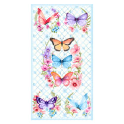 Papillion Parade 24'' Butterfly Panel White Fabric