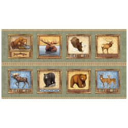 QT Fabrics Timberland Trail Animal Square Picture Patches 24'' Panel Sage