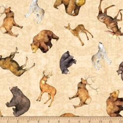 QT Fabrics Timberland Trail Tossed Animals Stone