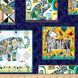 QT Fabrics Wild Side Geo Animal Patches Navy