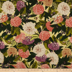 Cotton Linen Tropical Floral Coral/Olive Fabric