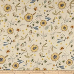 Cotton Linen Dandelions and Bees Yellow/Light Blue Fabric