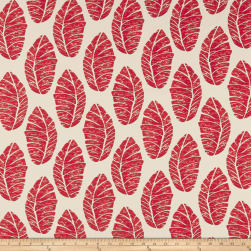 Cotton Linen Abstract Leaves Red Fabric