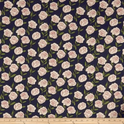 Cotton Linen Roses Red/Olive Fabric