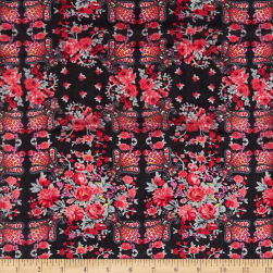 Silk Chiffon Allover Mini Bouquet Red/Gray Fabric