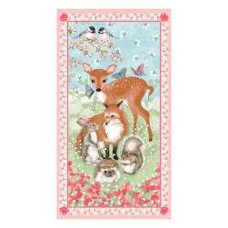 Forest Friends 24'' Panel Pink Fabric
