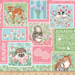 Forest Friends Patch Pink Fabric